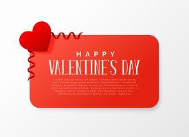 valentins dag banner design med rött hjärta