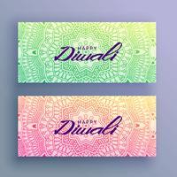 Tarjeta de felicitación del festival diwali con decoración de mandala