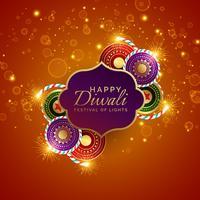 sprankelende diwali festival verkoop achtergrond met crackers