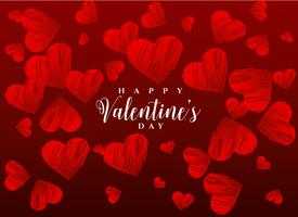 red scribble hearts background greeting design