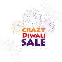 bannière de vente de diwali avec illustration de feux d'artifice