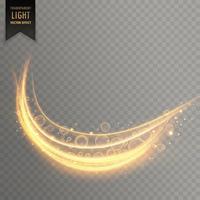 courbe dorée traînée de lumière effet transparent fond