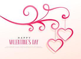 Diseño floral con dos corazones colgantes, fondo de San Valentín.