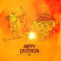 illustration av Lord Ram Killing ravan i Dussehra festival