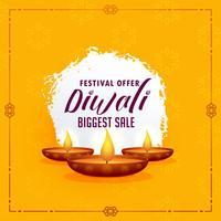 Plantilla de diseño de saludo feliz diwali con tres lámparas diya en y
