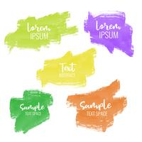 set of five colorful paint brush stroke banners