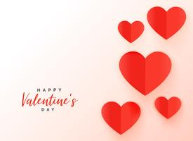 red origami hearts background for valentine's day