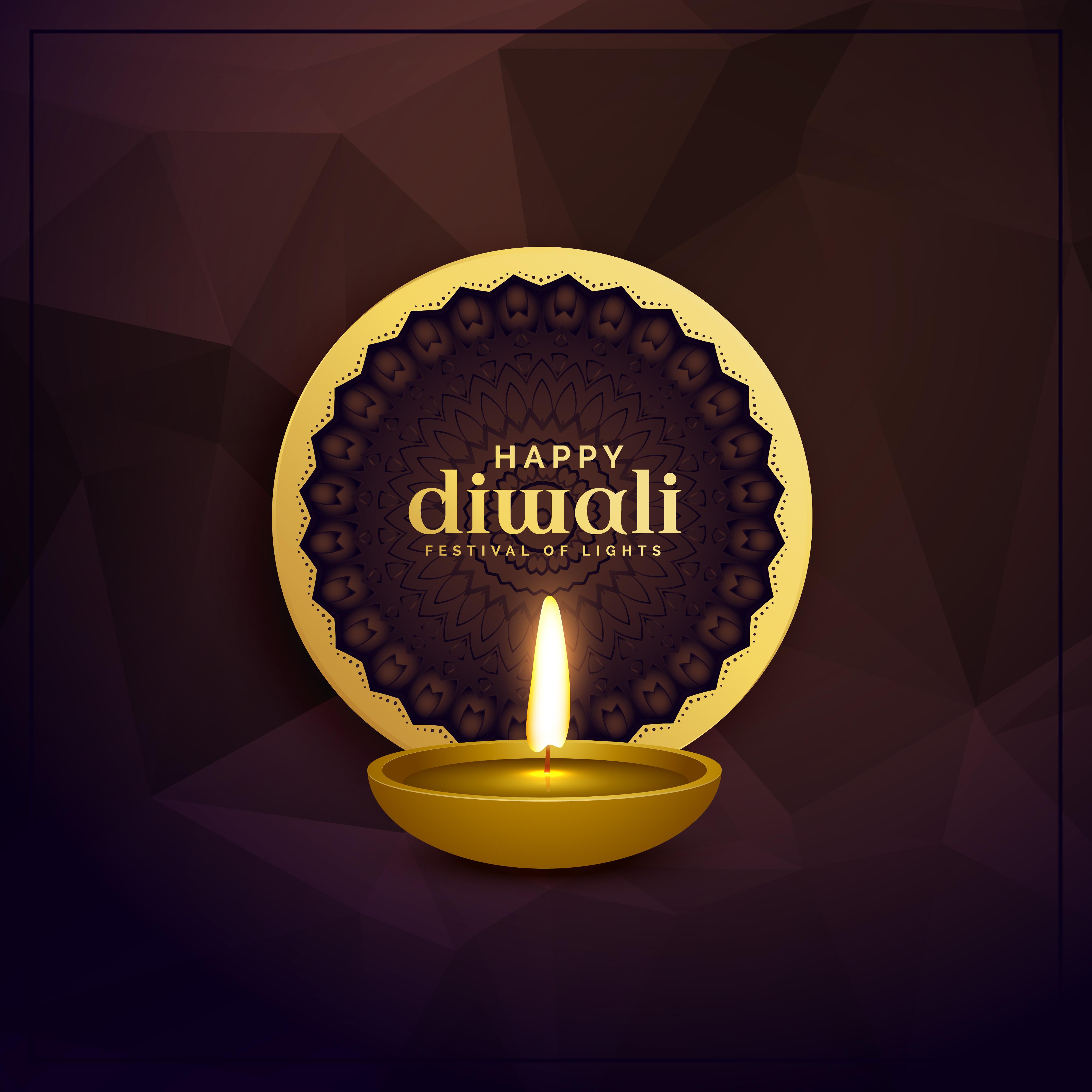Golden Diwali Greeting Card Design With Diya Lamp Download Free