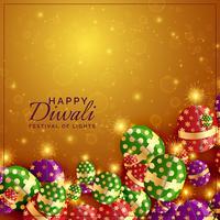 Diwali Cracker Hintergrund mit glänzenden Scheinen