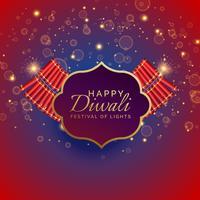 Happy Diwali Hintergrund mit brennenden Crackern und funkelt