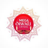 Fondo de venta de diwali con diya y diseño decorativo.