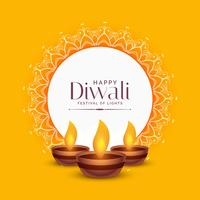 Gelber Diwali Festival-Grußentwurf mit drei Diya-Lampen
