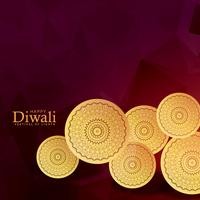 golden coins decoration for diwali festival background