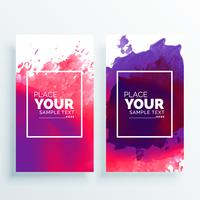 banner with watercolor splash vector set