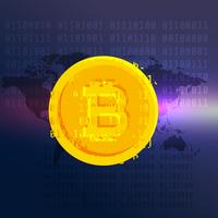 Fondo de vector digital de símbolo de moneda de bitcoin