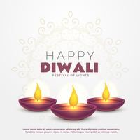 beautiful happy diwali greeting with burning diya for festival o