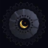 Fondo oscuro creativo con luna dorada y estrella.