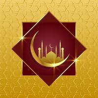 Fondo islámico con luna dorada y mezquita.