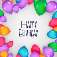 happy birthday card design with colorful balloons
