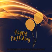 shiny golden happy birthday card design with light streak