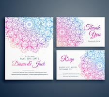 mandala style wedding invitation template with thank you and rsv