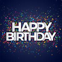 banner de feliz aniversário com confete