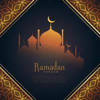 festival de ramadan kareem créatif saluant avec mosquée rougeoyante