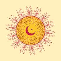 Fondo decorativo islámico con luna y estrella.