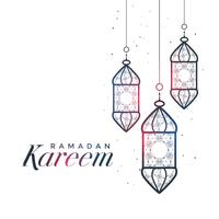 ramadan kareem card design with hanging lamps