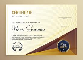 plantilla de diseño de certificado de lujo premium