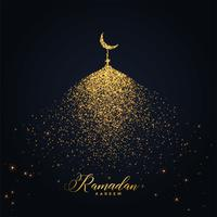 projeto de ramadan kareem com mesquita feita com partículas brilhantes