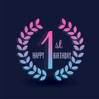 primeiro saudação de vetor de feliz aniversário