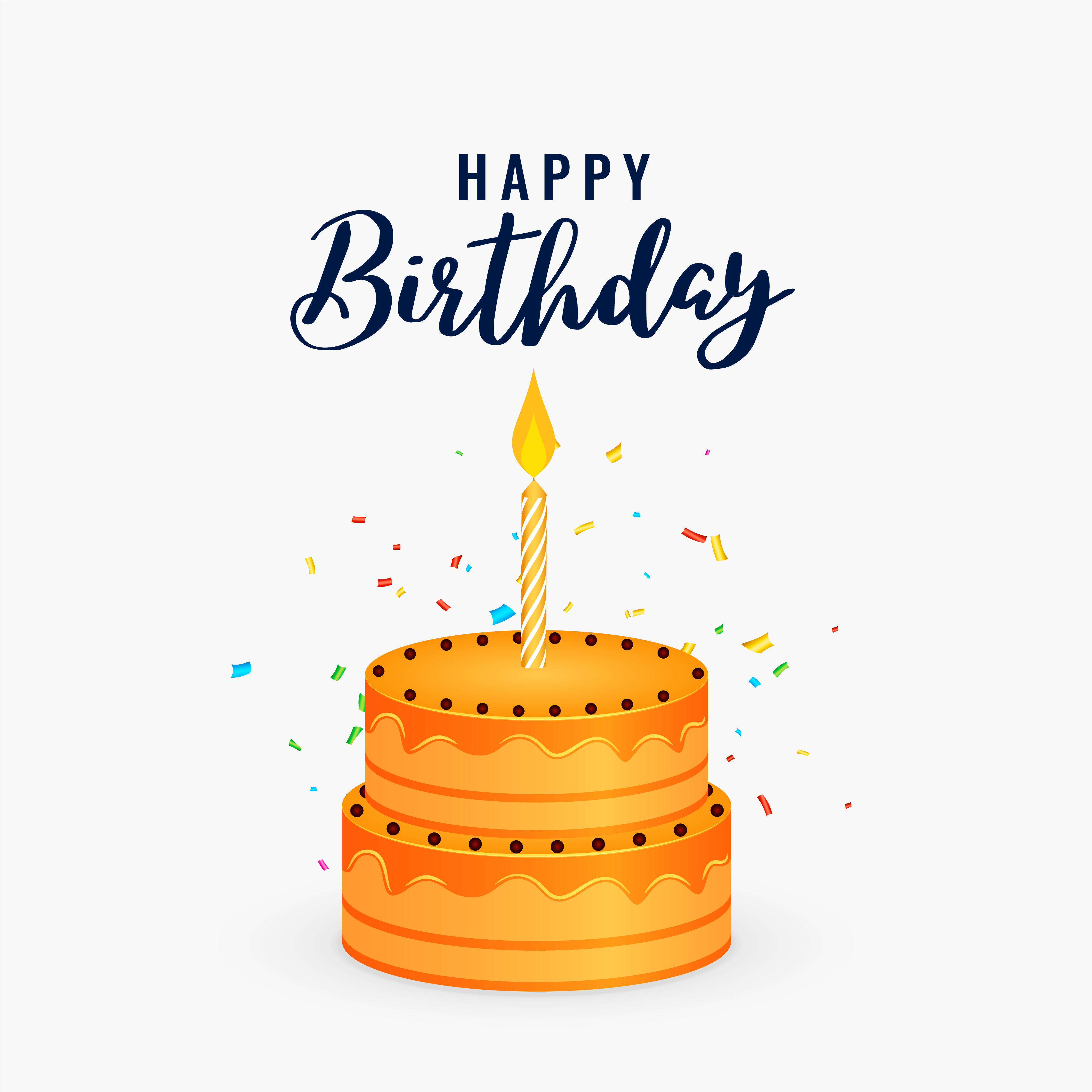 Happy Birthday Cake With Candle Celebration Background Download