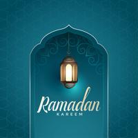 Ramadan Kareem impresionante diseño con lámpara colgante