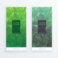 Banners verticales de hojas verdes.