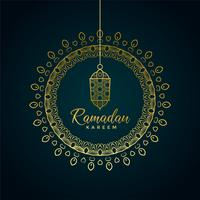 Ramadán kareem saludo con lámpara colgante y decoración ornamental