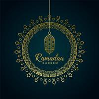 ramadan kareem voeux avec lampe suspendue et décorat ornemental