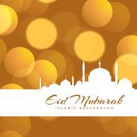 vacker eid mubarak bokeh bakgrundsdesign