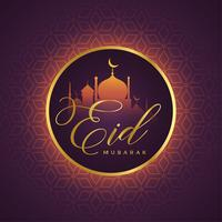 beautiful eid mubarak card design with mosque silhouette