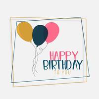 design de cartão de feliz aniversário com balões de cores planas