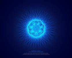 blauer abstrakter Wissenschaftshintergrund mit glühender Atomenergie