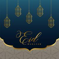 Islamischer Eid Mubarak Hintergrund mit goldenen Lampen