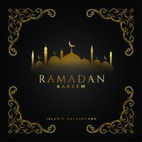 premium ramadan kareem festival golden background