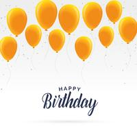 elegant happy birthday card with golden balloons