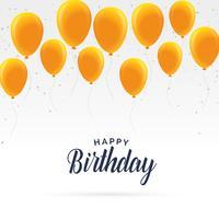 Elegante tarjeta de feliz cumpleaños con globos dorados