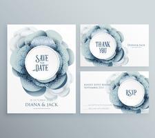 Conjunto de plantilla de invitación de boda con flores y decoración de
