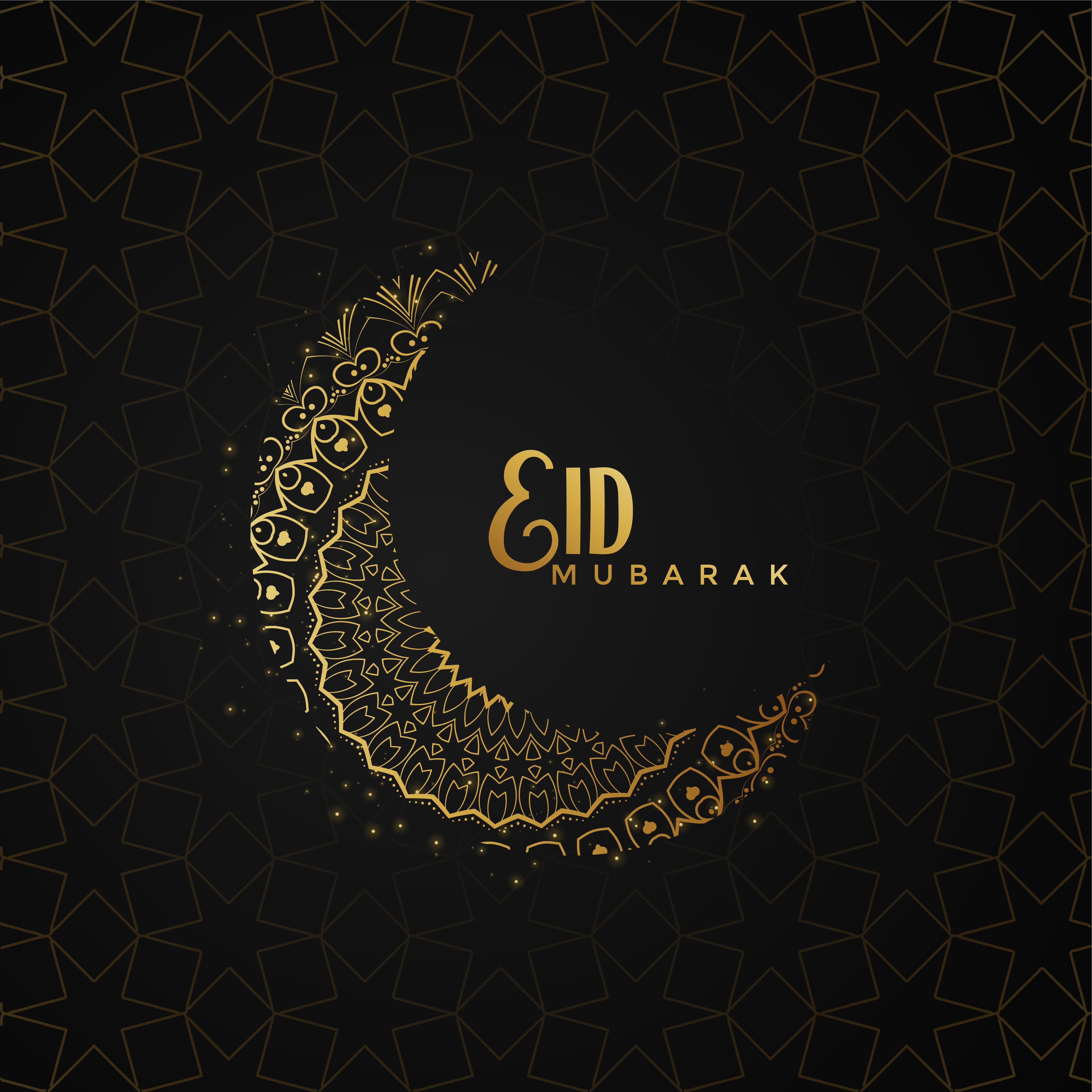 Eid Mubarak Greeting Design With Creative Moon Download Free