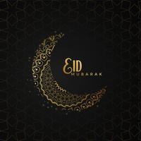Eid mubarak saludo diseño con luna creativa