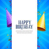 fundo de festa feliz aniversário com tampas de festa e confet