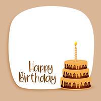 gelukkige verjaardagskaart ontwerp met tekst ruimte en taart